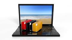 Suitcases on black laptop keyboard with beach on screen, isolated - stock illustration