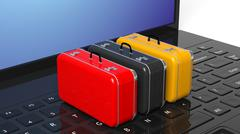 Colorful suitcases on black laptop keyboard with blank screen - stock illustration
