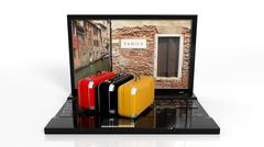 Stock Illustration of Suitcases on black laptop keyboard with Venice on screen, isolated