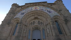 The facade of the Temple of Sacred Heart of Jesus in Barcelona Stock Footage