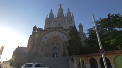 Wonderful view of The Temple of Sacred Heart of Jesus in Barcelona Stock Footage