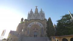 Best view of The Temple of Sacred Heart of Jesus in BarcelonaBarcelona Stock Footage