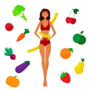The slender dark-skinned and Slimming girl. Diet. Healthy life Stock Illustration