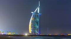summer night light dubai city world famous hotel 4k time lapse uae - stock footage