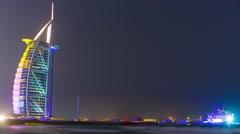 night light dubai city world famous hotel 4k time lapse united arabs emirates - stock footage