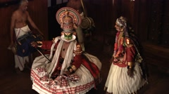 Danced Kathakali theater at Kerala india Stock Footage