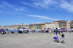 Sunday at the Old Port of Marseille, France - stock photo