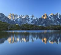 Grandes Jorasses and Dent du Geant reflected at sunrise in Lac des Cheserys, Stock Photos