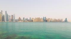 Summer day dubai marina jbr palm panorama 4k time lapse uae Stock Footage