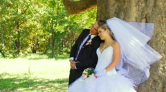 Wedding Walk In The Park Stock Footage