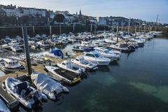 Sport boat harbour in Saint Peter Port, Guernsey, Channel Islands, United Stock Photos
