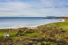 View over Whitepark Bay (White Park Bay), County Antrim, Ulster, Northern - stock photo