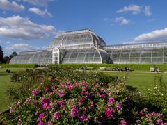 Palm House in Kew Gardens in summer, Royal Botanic Gardens, UNESCO World - stock photo