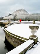 Palm House in Kew Gardens in winter, Royal Botanic Gardens, UNESCO World - stock photo
