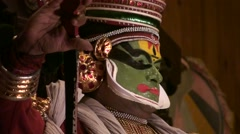 Expressions of Danced Kathakali theater at Kerala india Stock Footage