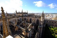 Seville Cathedral seen from Giralda bell tower, UNESCO World Heritage Site, - stock photo