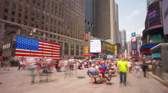 new york manhattan times square famous american flag 4k time lapse usa - stock footage