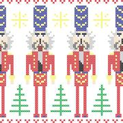 Nutcracker soldiers seamless christmas nordic pattern in cross stitch Stock Illustration