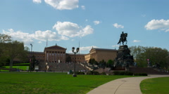 Summer day philadelphia art museum and monument panorama 4k time lapse usa Stock Footage