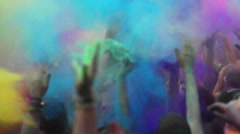 Wels, austria - June 13 - Celebration of Holi colors festival. Crowd waving hand Stock Footage