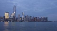 Jersey city pier new york manhattan night sunset panorama 4k time lapse usa Stock Footage