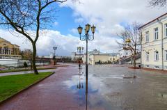 Belarus, Vitebsk. View of Pushkin bridge and Holy Spirit monastery - stock photo