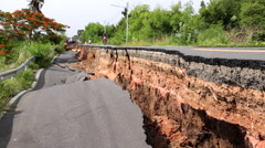 THAILAND DROUGHT ROAD COLLAPSE DROUGHT - stock footage