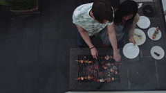 Friends enjoying barbeque Stock Footage