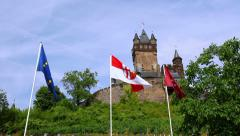 View of the Cochem Imperial Castle (Germany). Stock Footage