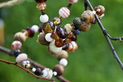 beads jewelry natural stones abstraction - stock photo