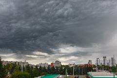 Dark clouds asperatus over Kaliningrad Stock Photos