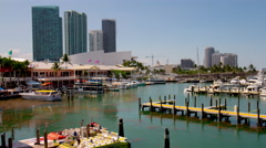 Summer day miami beach downtown tourist boat yacht port 4k time lapse usa Stock Footage