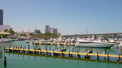 Miami city summer day tourist boat yacht dock port 4k time lapse florida usa Stock Footage