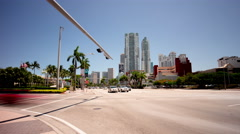 Summer day miami city downtown traffic crossroad street 4k time lapse usa Stock Footage