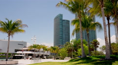 Miami downtown sunny day private yacht dock park 4k time lapse florida usa Stock Footage