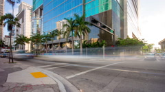 Miami summer day downtown traffic crossroad 4k time lapse florida usa Stock Footage