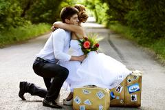 Beautiful bride and groom, the road auto-stop Stock Photos