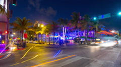 night miami south beach ocean drive traffic crossroad 4k time lapse usa - stock footage