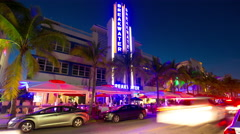 Stock Video Footage of night light miami south beach ocean drive traffic street 4k time lapse usa