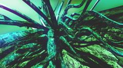 Waving underwater green plant 3d loop Stock Footage