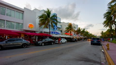 miami south beach summer sunset ocean drive 4k time lapse florida usa - stock footage