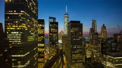 Sunset night new york manhattan freedom tower roof top view 4k time lapse usa Stock Footage