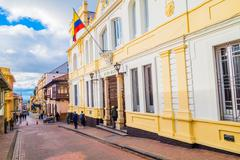Stock Photo of Beautiful yellow facade of typical spanish colonial architectural bigger