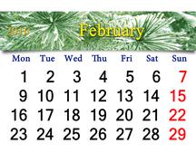 Calendar for  February 2016 with winter landscape Stock Illustration