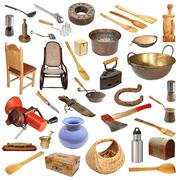 Collage with large number of vintage objects isolated on white background, re Stock Photos