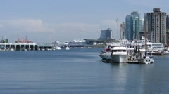 Ships & Buildings - Vancouver - Coal Harbour Stock Footage
