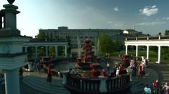 Aerial Video Fountain in Novokuznetsk, Russia - stock footage