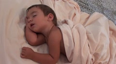 Toddler sleeping in strange position with open mouth 4 Stock Footage