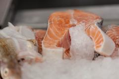 Salmon pink in slices Stock Photos
