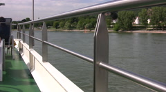 View from the top deck of a passenger boat on the river Rhine Stock Footage